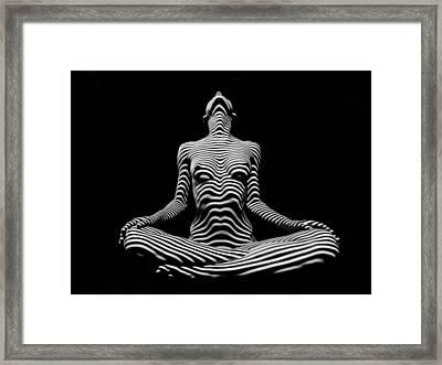 9934-dja Lotus Position In Zebra Stripes  Framed Print