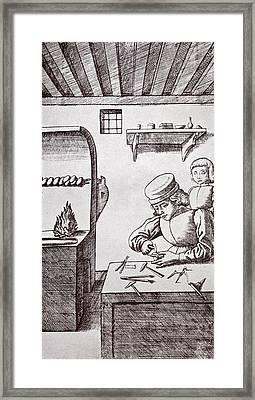 A 15th Century Locksmith Or Goldsmith Framed Print