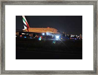 Emirates A380 Framed Print by Puzzles Shum