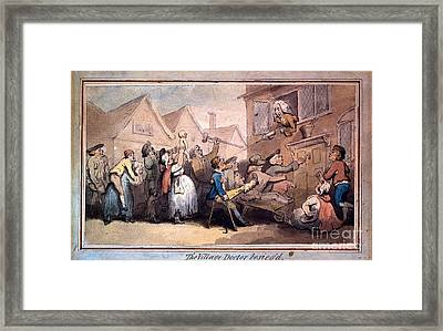 A Angry Mob Of Villagers Protesting Outside The House Of A Doctor Framed Print by MotionAge Designs
