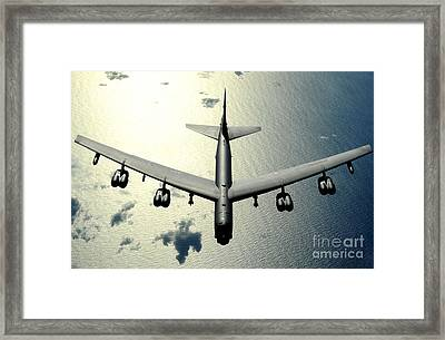 A B-52 Stratofortress In Flight Framed Print by Celestial Images