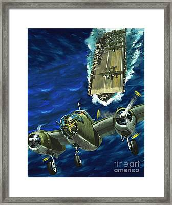 A B52 Bomber Takes Off From An Aircraft Carrier Headed For Japan In World War II Framed Print