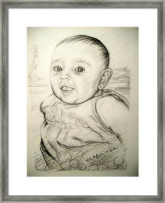 A Baby Smile Framed Print by Wale Adeoye