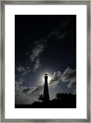 A Backlit View Of A Lighthouse Built Framed Print by Raul Touzon