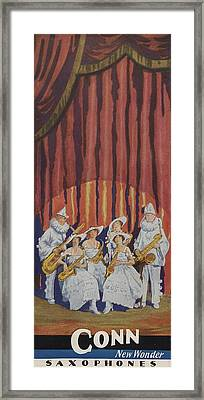 A Band On Stage Playing Charles Gerard Conn Saxophones Framed Print by American School