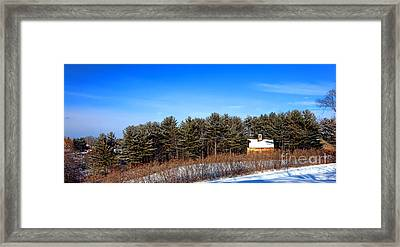 A Barn In The Snow In Maine Framed Print by Olivier Le Queinec