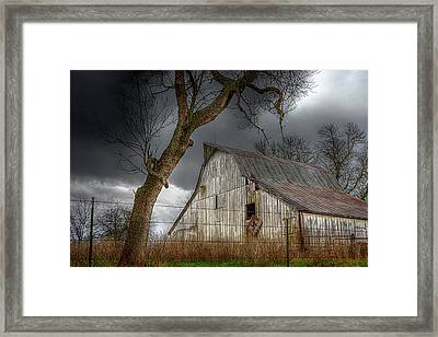 A Barn In The Storm 2 Framed Print by Karen McKenzie McAdoo