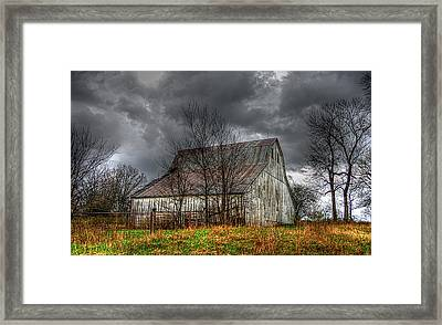A Barn In The Storm 3 Framed Print by Karen McKenzie McAdoo