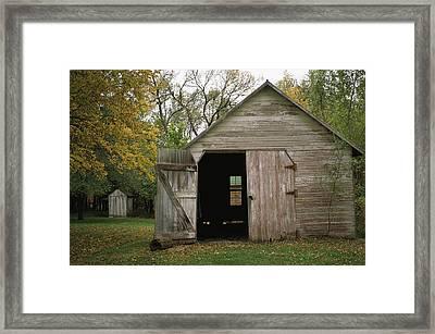 A Barn With An Open Door On Waveland Framed Print