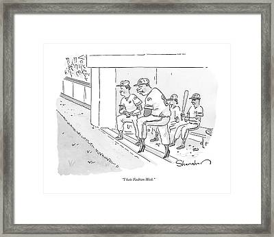 A Baseball Player Leans Out Of The Dugout Framed Print