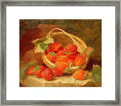 A Basket Of Strawberries On A Stone Ledge Framed Print by Eloise Harriet Stannard