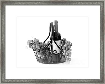 A Basket Of Wine And Grapes Framed Print
