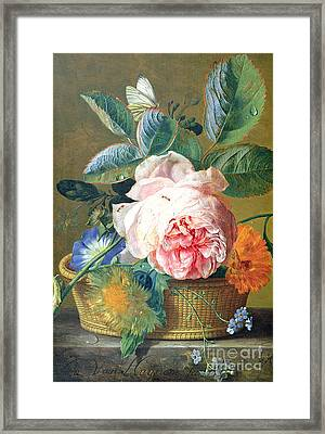 A Basket With Flowers Framed Print