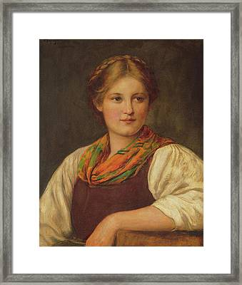 A Bavarian Peasant Girl Framed Print by Franz von Defregger