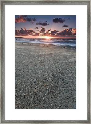 A Beach During Sunset With Glowing Sky Framed Print