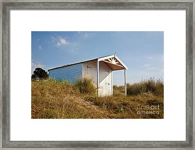 A Beach Hut In The Marram Grass At Old Hunstanton North Norfolk Framed Print