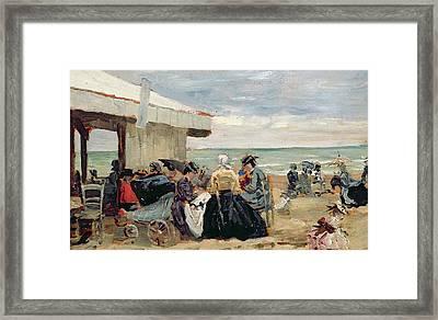 A Beach Scene Framed Print by Eugene Louis Boudin