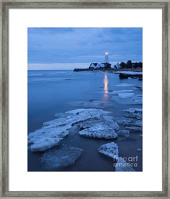A Beacon In The Night - New England Lighthouse Framed Print by JG Coleman