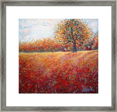 Framed Print featuring the painting A Beautiful Autumn Day by Natalie Holland