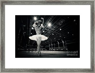 Framed Print featuring the photograph A Beautiful Ballerina Dancing In Studio by Dimitar Hristov
