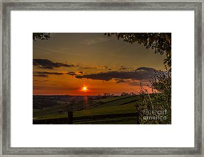 A Beautiful Sunset Over The Surrey Hills Framed Print
