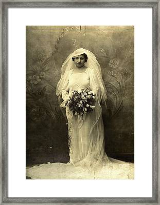 A Beautiful Vintage Photo Of Coloured Colored Lady In Her Wedding Dress Framed Print