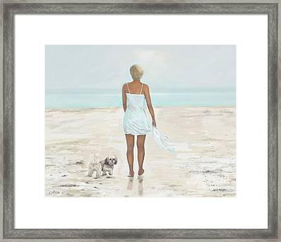 Framed Print featuring the painting A Beautiful Walk by Leslie Allen