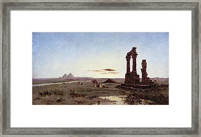 A Bedouin Encampment By A Ruined Temple  Framed Print by Alexandre Gabriel Decamps