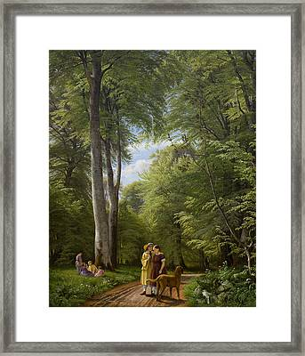 A Beech Wood In May Near Iselingen Manor Framed Print by Peter Christian Skovgaard