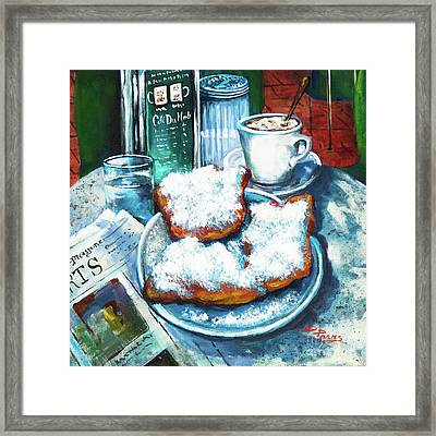 A Beignet Morning Framed Print by Dianne Parks