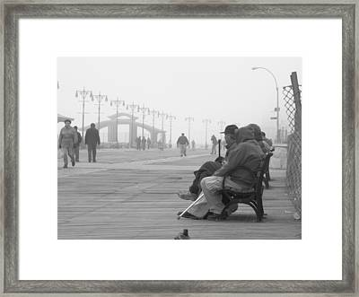 A Bench At Coney Island Framed Print by Peter Aiello