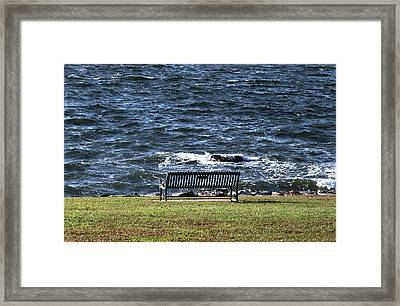 Framed Print featuring the photograph A Bench By The Sea by Tom Prendergast