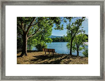 A Bench Overlooking Vasona Lake Framed Print