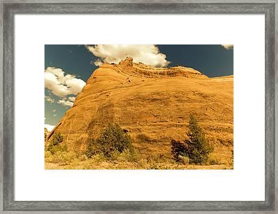 A Big Mountainous Rock On The Gemini Trail Moab Utah  Framed Print by Jeff Swan
