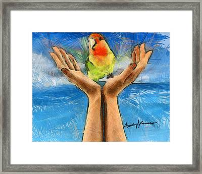 A Bird In Two Hands Framed Print by Anthony Caruso