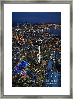 A Birds-eye View Of Seattle Framed Print