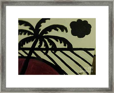 A Black And White Beach Scene Framed Print by Marie Bulger