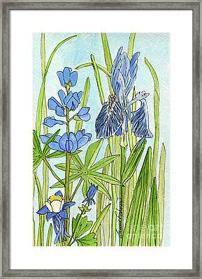 Framed Print featuring the painting A Blue Garden by Laurie Rohner