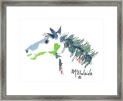 A Blue Roan Horse Watercolor Painting By Kmcelwaine Framed Print