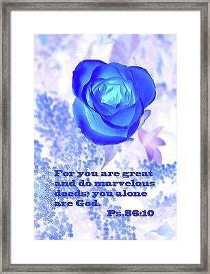 A Blue Rose Ps. 86 V 10 Framed Print by Linda Phelps