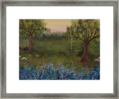 A Bluebonnet Swing Framed Print by Shiana Canatella