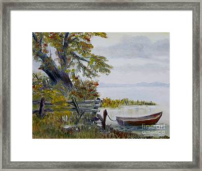 A Boat Waiting Framed Print