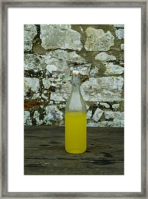 A Bottle Of Limoncello Sits On A Picnic Framed Print by Todd Gipstein