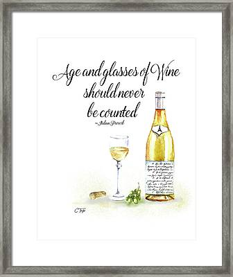 A Bottle Of White Wine Framed Print by Colleen Taylor