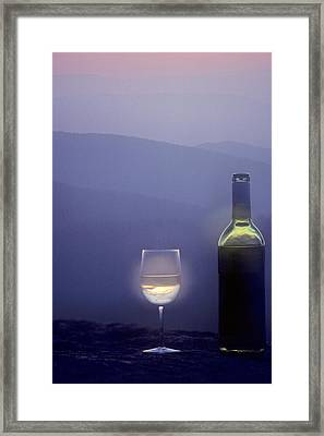 A Bottle Of Wine And Glass Framed Print