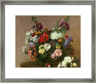 A Bouquet Of Mixed Flowers Framed Print by Ignace Henri Jean Fantin-Latour