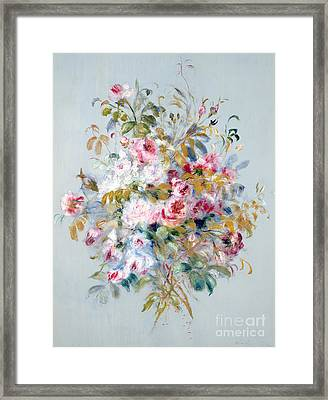 A Bouquet Of Roses Framed Print by Pierre Auguste Renoir