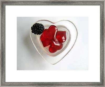 Framed Print featuring the photograph A Bowl Of Hearts And A Blackberry by Ausra Huntington nee Paulauskaite