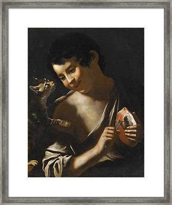 A  Boy Eating A Loaf Of Bread With A Cat Framed Print