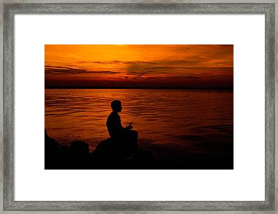A Boy Fishing  Framed Print by Angela Huston